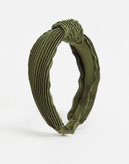 ASOS DESIGN - Satin-Haarreif in Khaki mit plissiertem Design-Grün