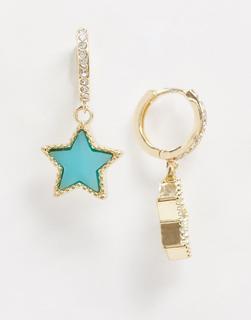 ASOS DESIGN - Goldfarbene Creolen mit blauem, kristallverziertem Sternanhänger