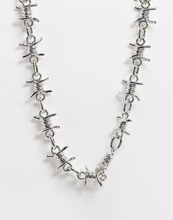 ASOS DESIGN - Halskette mit Stacheldrahtdesign in Silber