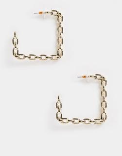ASOS DESIGN - Eckige, goldfarbene Kreolen im Kettenglieder-Design