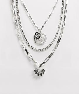 ASOS DESIGN - Silberfarbene Halsketten im Set mit Anhängern