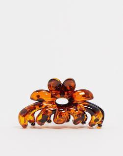 ASOS DESIGN - Haarspange in Schildpattoptik mit Blumendesign-Mehrfarbig