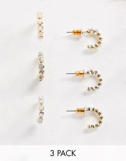 ASOS DESIGN - Goldfarbene Ohrringe mit Perlen und Opal-Ziersteinen im 3er-Pack