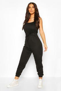 boohoo - Womens 2 In 1 Cami Top & Jogger Jumpsuit - Black - 12, Black