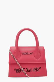 boohoo - Womens Insert Cash Slogan Structured Cross Body Bag - Pink - One Size, Pink