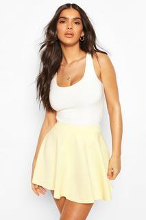 boohoo - Womens Basic Micro Fit & Flare Skater Skirt - Yellow - 10, Yellow