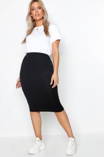 boohoo - Womens Plus Midi Tube Skirt - Black - 20, Black