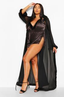 boohoo - Womens Plus Gemma Collins Kimono Dressing Gown With Fluffy Trim - Black - 18, Black