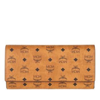 MCM - Portemonnaie - Visetos Original Tri Fold Flap Wallet Cognac - in cognac - für Damen