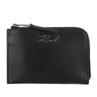KARL LAGERFELD - Portemonnaie - Signature Zip Card Holder Black - in schwarz - für Damen