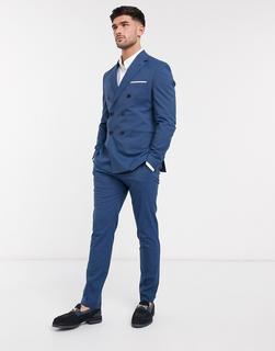 Selected Homme - Schmal geschnittene Stretch-Anzughose in Blau