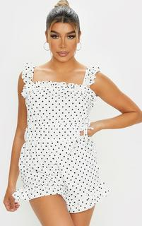 PrettyLittleThing - White Polka Dot Frill Detail Tie Waist Playsuit, White