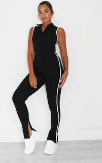 PrettyLittleThing - Petite Black Zip Detail Sports Stripe Sleevless Jumpsuit, Black