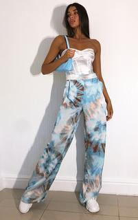 PrettyLittleThing - Blue Tie Dye Wide Leg Trousers, Blue