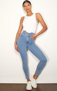 PrettyLittleThing - Light Blue Wash Super High Waist Disco Jeans, Light Blue Wash
