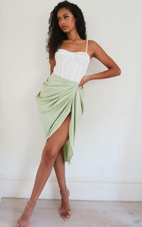 PrettyLittleThing - Sage Ruched Side Midi Skirt, Green