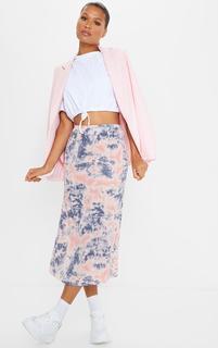 PrettyLittleThing - Pink Tie Dye Woven Midi Skirt, Pink