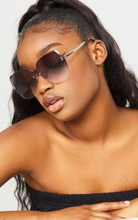 PrettyLittleThing - Grey Fade Oversized Pointed Square Sunglasses, Grey