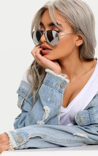 PrettyLittleThing - Quin Silver Mirrored Aviator Sunglasses, Grey