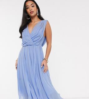 ASOS Petite - ASOS DESIGN Petite – Verziertes, wadenlanges Kleid mit drapiertem Mieder-Mehrfarbig