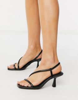 ASOS DESIGN - Hold Me – Asymmetrische Sandalen in Schwarz mit mittelhohem Absatz