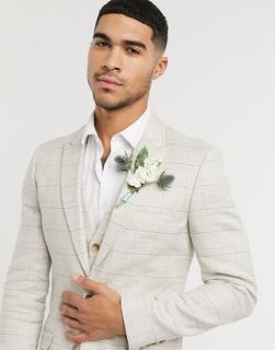 ASOS DESIGN - Wedding – Superenge, karierte Anzugjacke aus elastischem Baumwollleinen in Stone