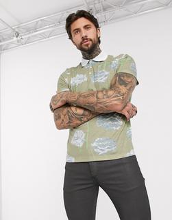 ASOS DESIGN - Polohemd in Leinenoptik mit Blumenmuster-Mehrfarbig