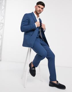 Selected Homme - Schmale, zweireihige Anzugjacke mit Stretch-Anteil in Blau