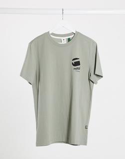 G-Star - T-Shirt mit großem Logo hinten in Khaki-Grün