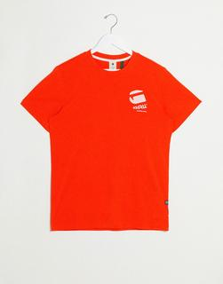G-Star - T-Shirt mit großem Logo am Rücken, in Orange