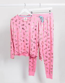 Chelsea Peers - Pyjama mit Ananasfoliendruck in Rosa und Gold