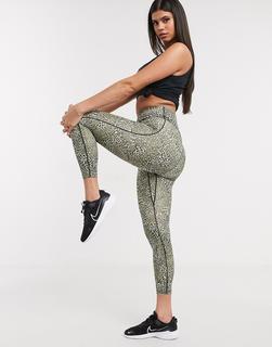 Nike Training - One Tight – Kurz geschnittene Leggings mit Leopard-Print-Mehrfarbig