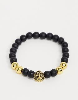 7X - SVNX – Lion Head– Perlenarmband-Gold