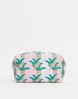 Coconut Lane - Make-up-Tasche mit tropischem Leopardenmuster-Mehrfarbig