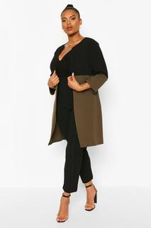 boohoo - Womens Plus Duster-Mantel Mit 3/4-Ärmeln Und Colorblock-Design - Khaki - 46, Khaki