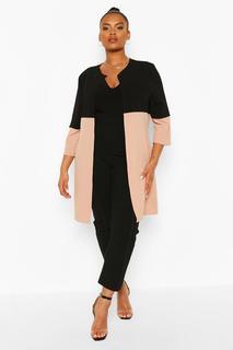 boohoo - Womens Plus Duster-Mantel Mit 3/4-Ärmeln Und Colorblock-Design - Steingrau - 48, Steingrau