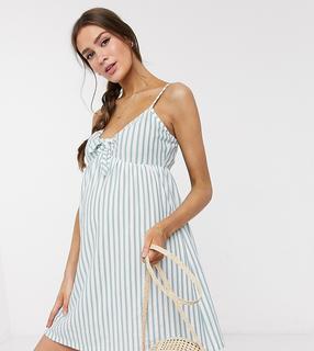 ASOS Maternity - ASOS DESIGN Maternity – Minikleid mit Trägern und Schleife vorn in Salbei und Weiß gestreift-Mehrfarbig