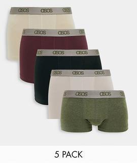 ASOS DESIGN - 5er-Packung Unterhosen mit Logobund – Jetzt sparen!-Mehrfarbig