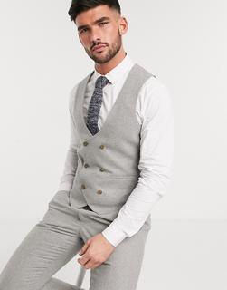 Harry Brown - Wedding – Schmale, zweireihige, sommerliche Anzugweste aus Tweed-Grau