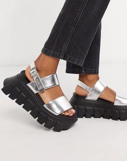 Lamoda - Klobige Sandalen in Silber