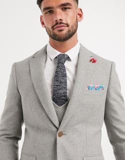 Harry Brown - Wedding – Schmale, sommerliche Anzugjacke aus Tweed-Grau