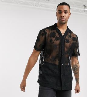 ASOS DESIGN - Tall – Regulär geschnittene, schwarze Bluse aus floraler Spitze mit Reverskragen