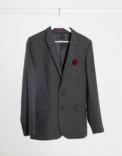 ASOS DESIGN - Wedding – Superenge Anzugjacke aus Woll-Mix mit Fischgrätmuster in Anthrazit-Grau