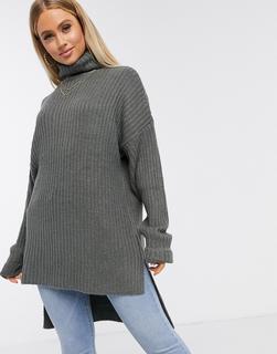Missguided - Grauer Oversize-Pullover mit Stufensaum
