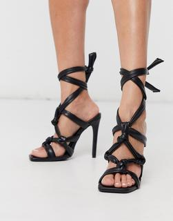 Public Desire - Convo – Sandalen mit mehreren Knoten in Schwarz