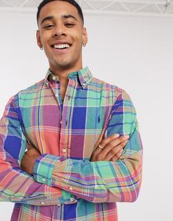Polo Ralph Lauren - Madras – Kariertes Hemd mit Polospielerlogo in regulärer Passform mit Button-down-Kragen, Blau/Rot/Bunt-Mehrfarbig