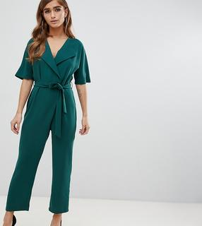 ASOS Petite - ASOS DESIGN Petite – Wickel-Jumpsuit mit Bindegürtel-Grün