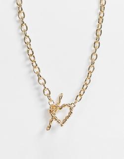 ASOS DESIGN - Goldfarbene Halskette mit Herzanhänger