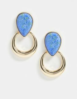 ASOS DESIGN - Goldfarbene Ohrringe mit Stein inLapislazuli-Optik und Ringanhänger