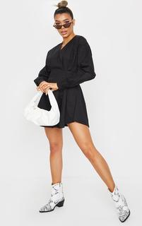 PrettyLittleThing - Black Woven V Neck Pleated Waist Shirt Dress, Black